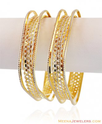 22k Fancy Square Bangle (1 Pc only) ( Two Tone Bangles )