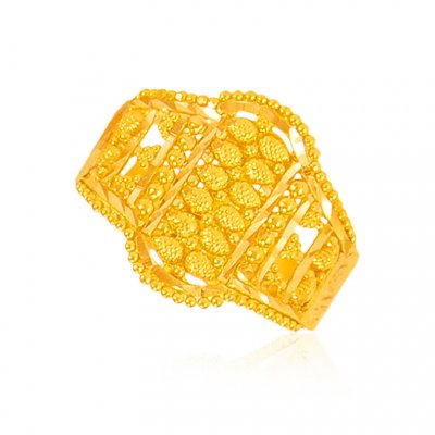 22Kt Gold Filigree Ring  ( Ladies Gold Ring )