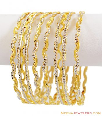22K Gold Fancy Rhodium Bangles Set  ( Two Tone Bangles )