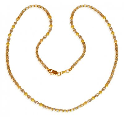 22 kt Two Tone Gold Designer Chain ( 22Kt Gold Fancy Chains )