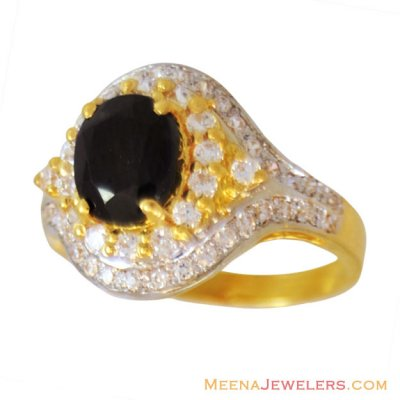 22K Gold Blue Sapphire  Ring ( Ladies Rings with Precious Stones )