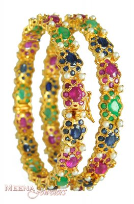 22k Gold Bangle with Precious Stones ( Precious Stone Bangles )
