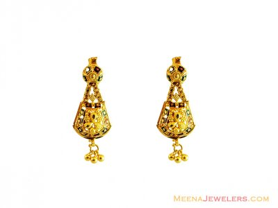 22K Fancy Meena Filigree Earrings  ( 22Kt Gold Fancy Earrings )
