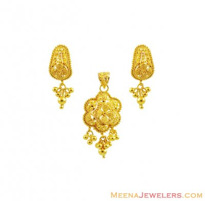 22KGold Indian Pendant Set ( Gold Pendant Sets )