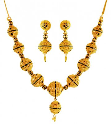 22K Gold Necklace And Earring Set ( 22 Kt Gold Sets )