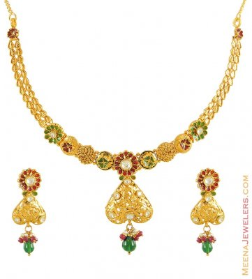 22Kt Kundan Antique Necklace Set ( Antique Necklace Sets )