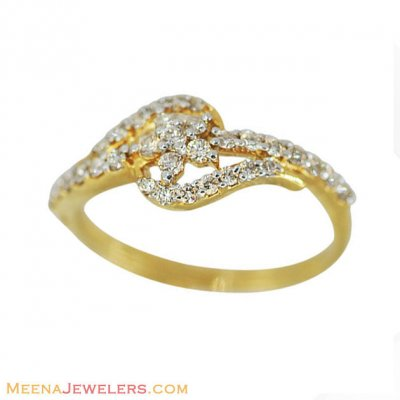 18k Floral Elegant Diamond Ring ( Diamond Rings )