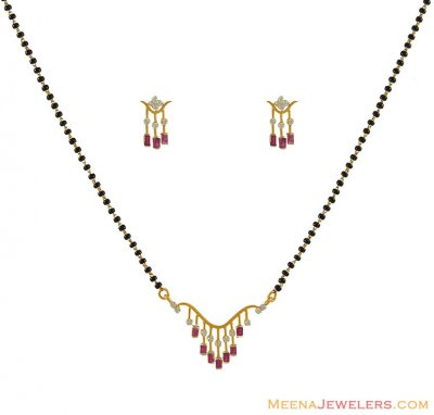 Diamond Mangalsutra Set With Ruby ( Diamond MangalSutras )