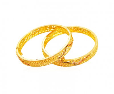 22K Gold 3 Tone Kids Bangle (2 Pcs) ( Baby Bangles )