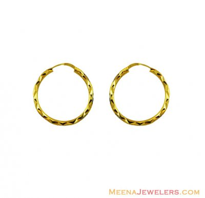 22Kt Two Tone Gold Hoops ( Hoop Earrings )