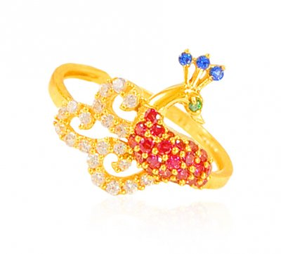 22KGold Ruby, Emerald Sapphire Ring ( Ladies Signity Rings )