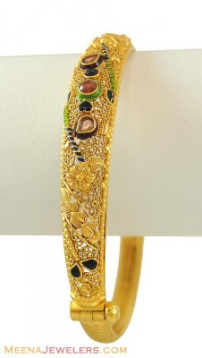 Gold Bangles with Colored Stones ( Kadas )