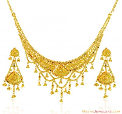 Beautiful Gold Necklace Set ( 22 Kt Gold Sets )