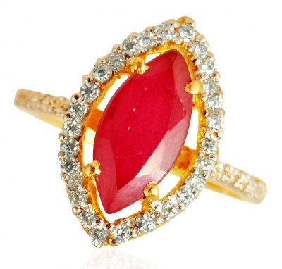 22KT Gold Ruby Ring ( Ladies Rings with Precious Stones )