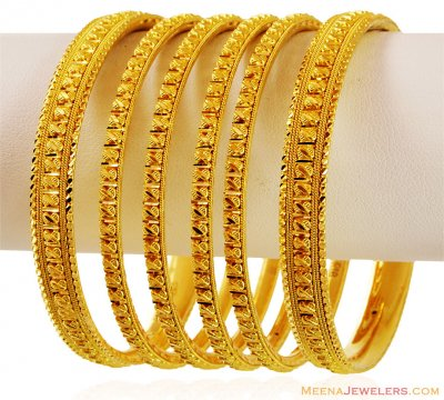 22k Fancy Filigree Bangles Set ( Set of Bangles )