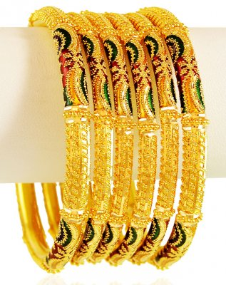 22Kt Meena Gold Bangles 6PC ( Set of Bangles )