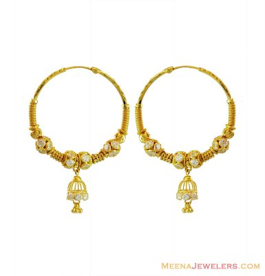 22k Yellow Gold Bali ( Earrings) ( Hoop Earrings )