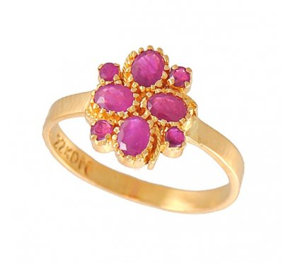 Gold Ring with Ruby ( Ladies Rings with Precious Stones )