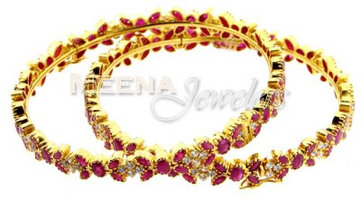 22Kt Gold Ruby Bangles with CZ ( Precious Stone Bangles )