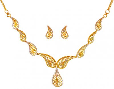 22Kt Gold Two Tone Necklace Set ( Light Sets )