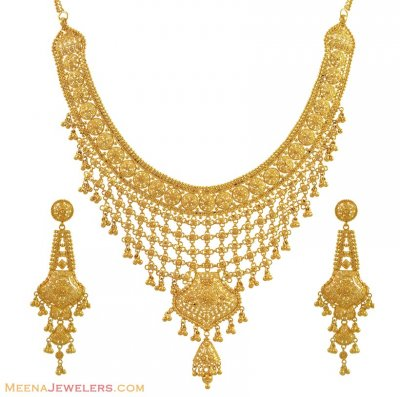 Indian Filigree Necklace Set (22Kt) ( 22 Kt Gold Sets )