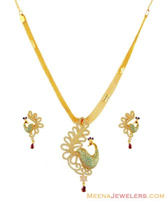 Fancy Peacock Signity Stone Set 22k ( Gold Designer Sets )