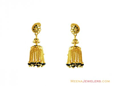 Designer Black Meena Earrings 22k  ( 22Kt Gold Fancy Earrings )