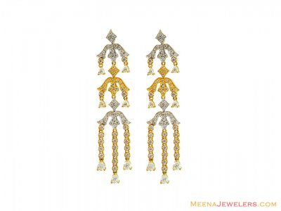 22K Fancy Two Tone Long Earrings ( Exquisite Earrings )