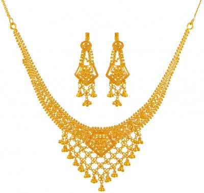 22K Necklace Earring Set ( 22 Kt Gold Sets )