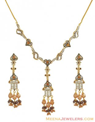 Designer Pakistani Cz Necklace Set(22k) ( Gold Designer Sets )