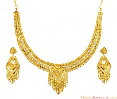 21K Two Tone Necklace Set ( 22 Kt Gold Sets )