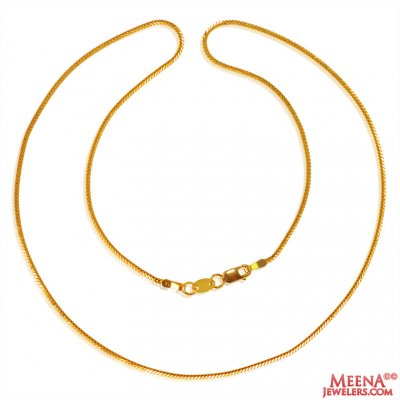 22k Gold Fox Tail Chain 18In ( Plain Gold Chains )