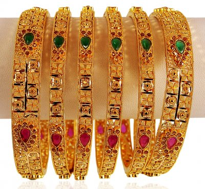 22K Gold Stones Bangle Set ( Set of Bangles )