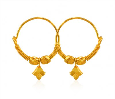 22K Bali Earrings ( Hoop Earrings )