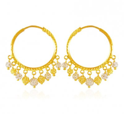 22kt Gold Balls Hoops ( Hoop Earrings )