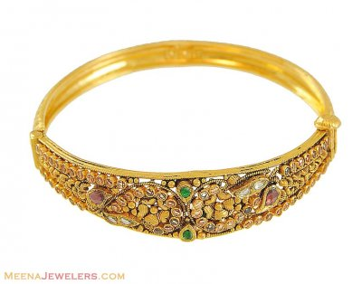 22k Polki Stones Antique Bangle ( Antique Bangles )