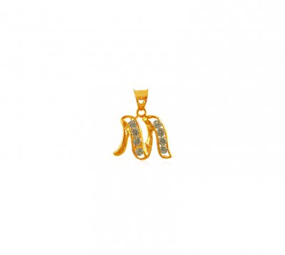 22K Gold Pendant with Initial (M) ( Initial Pendants )
