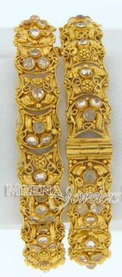 22 Kt Antique Gold Bangles with Polki Stones, 2 pcs ( Antique Bangles )