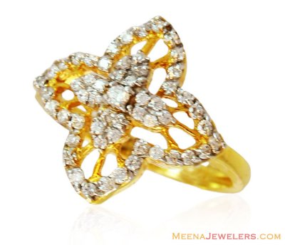 Modern Design 22k Gold ring with CZ ( Ladies Signity Rings )