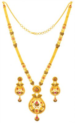 22KT Gold Long Necklace Set ( Gold Designer Sets )
