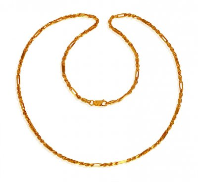 22K Gold Rope Chain 22In ( Men`s Gold Chains )
