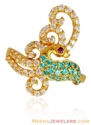 Exclusive Gold Peacock Ring ( Ladies Signity Rings )
