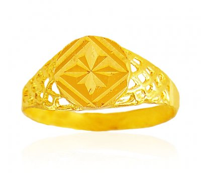 22K Gold Teenage Boys Ring ( Mens Gold Ring )