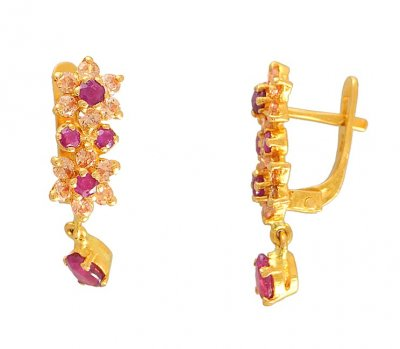 22K Gold Ruby Earrings ( Precious Stone Earrings )