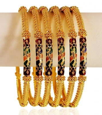 22 K Gold Meena Bangles 6 PCs ( Set of Bangles )