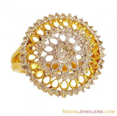 Designer Sun Shaped Floral Ring 18K ( Diamond Rings )
