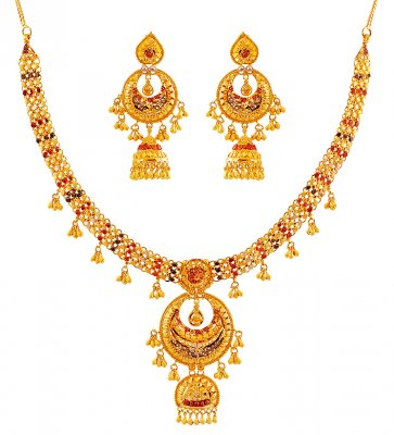 Tricolor Gold Necklace Set ( 22 Kt Gold Sets )