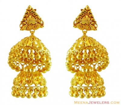 22k Double Layered Chandeliers ( 22Kt Gold Fancy Earrings )