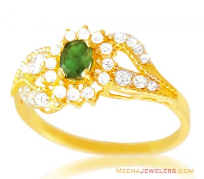 Fancy Emerald 22k Ring ( Ladies Rings with Precious Stones )