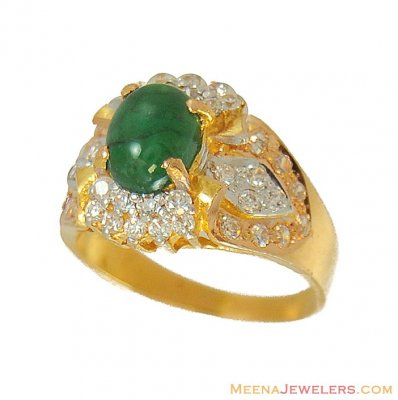 22Kt Ring with Emerald and cz ( Ladies Rings with Precious Stones )